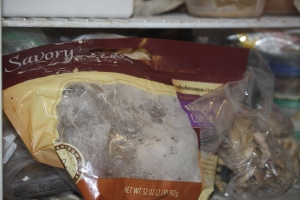 One store bought chicken carcass, frozen; one home baked carcass, frozen